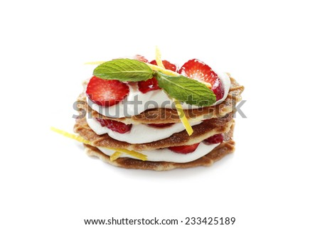 Millefeuille with strawberries and cream - stock photo