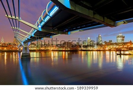 Millenium Bridge in London, England - stock photo