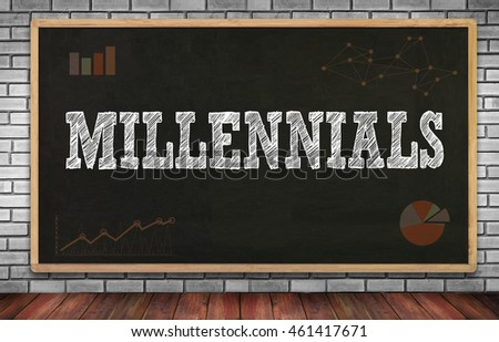 MILLENNIALS  on brick wall and chalkboard background
