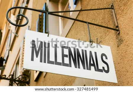 Millennials sign in a conceptual image - stock photo