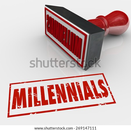 Millennials word stamped in red ink and grunge style to label a group of young people for marketing or demographic purposes - stock photo