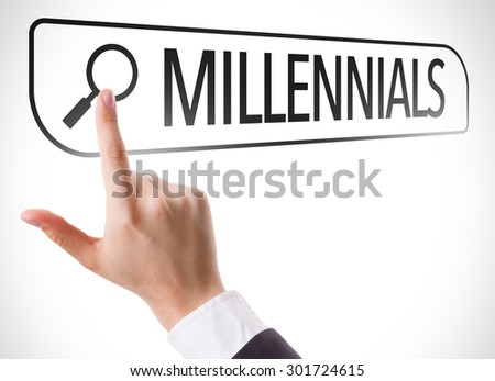 Millennials written in search bar on virtual screen - stock photo