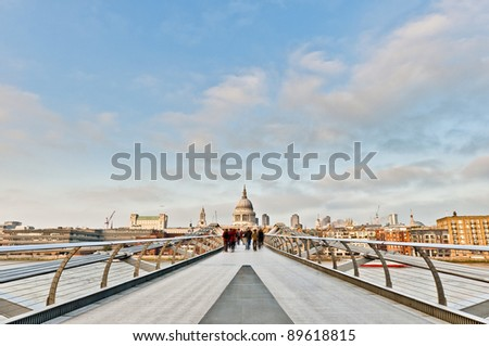 Millennium Bridge across thames river at London, England - stock photo