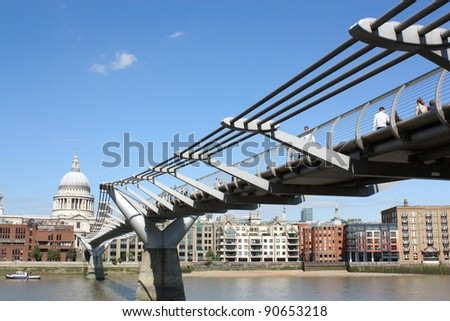 Millennium Bridge and St.Paul's Cathedral - stock photo