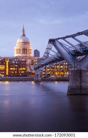 Millennium bridge and St. Paul's cathedral, Church at night, London, England, UK  - stock photo