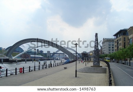 Millennium  Bridge and Tyne Bridge Quayside Newcastle - stock photo