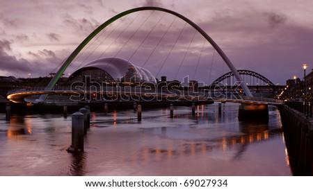 Millennium Bridge at Newcastle/Gateshead, early evening during winter. - stock photo