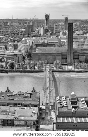 Millennium Bridge, London. - stock photo