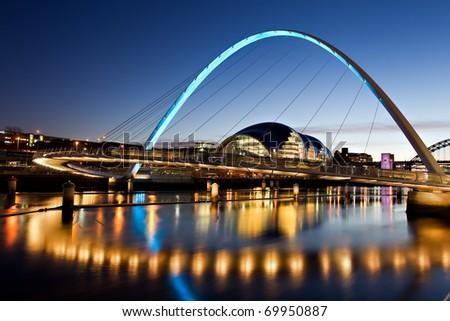 Millennium Bridge on The River Tyne - stock photo