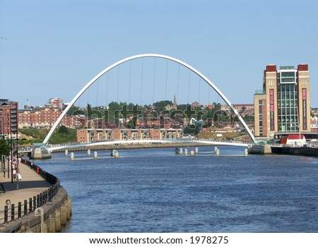 Millennium Foot Bridge between Newcastle and Gateshead Northeast England - stock photo