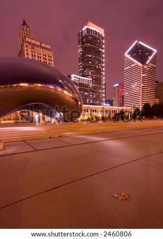 Millennium Park at night, Chicago, IL - stock photo