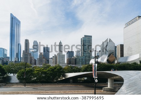 Millennium Park, Chicago, USA - September 24, 2015: Public BP walkway in Millenium park. Millenium Park is one of the parks major attractions. - stock photo