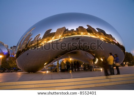 Millennium Park in Chicago at night. - stock photo