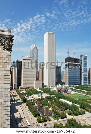 Millennium Park in Chicago from above looking down Michigan Avenue. - stock photo