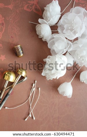 Millinery hat making tools silk flowers stock photo image royalty millinery and hat making tools silk flowers and thimble mightylinksfo