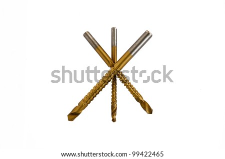 milling drill bit set isolated on white background - stock photo