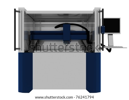 milling machine ,3d render isolated on white - stock photo