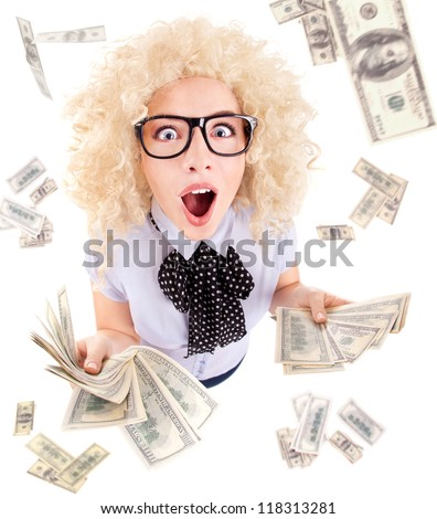 Millionaire, lottery winner concept, funny surprised excited woman with dollar bills - stock photo