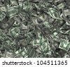 Millions of Dollars in the Form of Crumpled $10,000 Federal Reserve Notes - stock photo