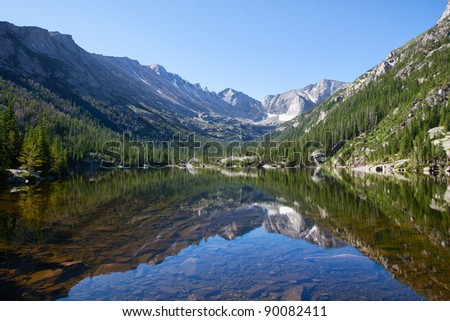 Mills Lake in Rocky Mountains National Park, Colorado in summer - stock photo