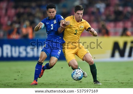 Milos Degenek (yellow) no.2 of Australia in action during the 2018 World Cup Qualifiers match between Thailand and Australia at Rajamangala Stadium on September 15, 2016 in Bangkok, Thailand