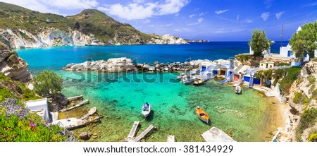 Milos - traditional village Mandrakia , beautiful islands of Greece - stock photo