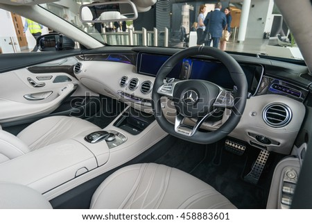 MILTON KEYNES, ENGLAND - JULY 26, 2016. Inside view of Mercedes Benz 2016 E Class Cabriolet model at Mercedes-Benz head office  - stock photo