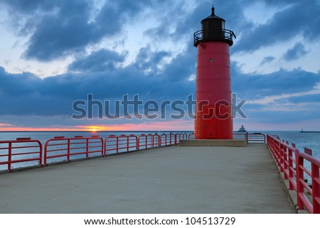 Milwaukee Lighthouse. Image of the Milwaukee Lighthouse at sunrise. - stock photo