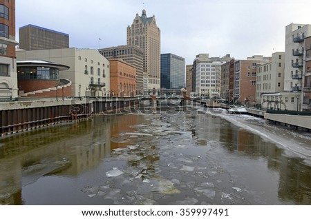 Milwaukee skyline, a city with a rich Native American history, located on Lake Michigan in Wisconsin, USA, - stock photo