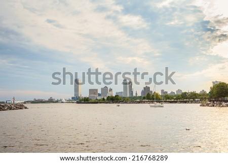 Milwaukee skyline at sunset, Wisconsin, USA - stock photo