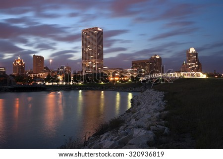 Milwaukee sunset panorama with Lake Michigan. Milwaukee, Wisconsin, USA. - stock photo