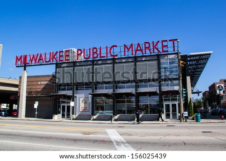 MILWAUKEE,WISCONSIN-SEPTEMBER 25: People shop at Milwaukee Public Market on September 25, 2013. The market, located in the historic third ward has been open since 2005