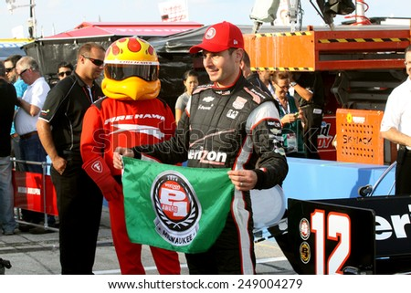 Milwaukee Wisconsin, USA - August 16, 2014: Verizon Indycar Series Indyfest ABC 250 Practice and Qualifying sessions on track action. Will Power Toowoomba, Australia Verizon Team Penske Pole Winner