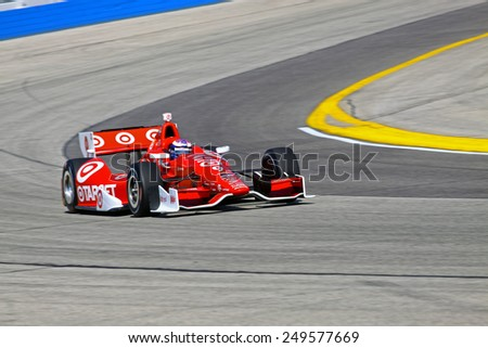 Milwaukee Wisconsin, USA - August 16, 2014: Verizon Indycar Series Indyfest ABC 250 Practice and Qualifying sessions on track action. Scott Dixon Auckland, New Zealand Target Chip Ganassi Racing