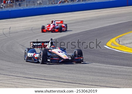 Milwaukee Wisconsin, USA - August 17, 2014: Verizon Indycar Series Indyfest ABC 250  race day on track action. 12 Will Power Toowoomba, Australia Verizon Team Penske Chevrolet