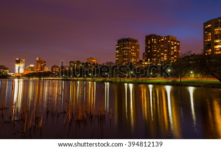 Milwaukee Wisconsin view from Veterans park Clear Night Sky reflection - stock photo