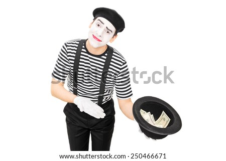 Mime artist collecting money in a hat isolated on white background - stock photo