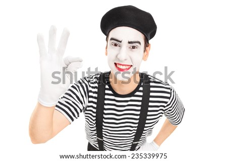 Mime artist gesturing with his hand isolated against white background - stock photo