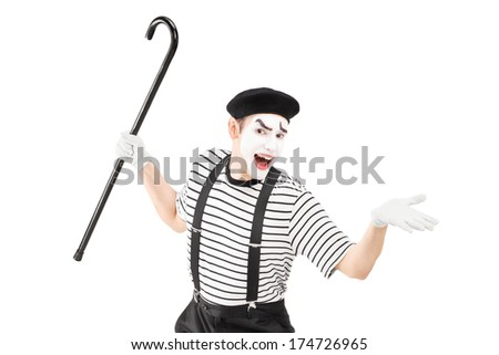 Mime artist holding a cane and gesturing isolated on white background - stock photo