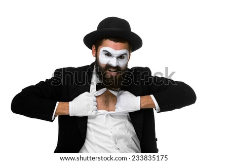 mime as a businessman tearing his shirt off isolated on white background. Concept determination and courage - stock photo