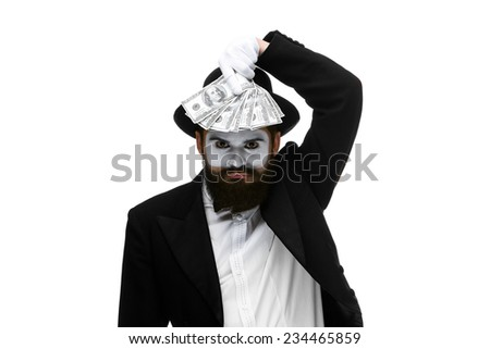 mime as businessman holding money isolated on a white background. concept  love of money and power - stock photo