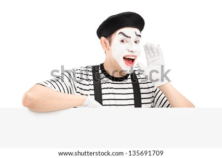 Mime dancer gesturing and shouting and standing on a panel, isolated on white background - stock photo