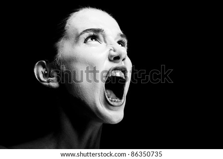Mime girl looks up and screams. Closeup. - stock photo