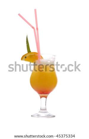 Mimosa Cocktail on white ground - stock photo