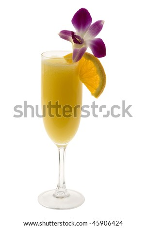 Mimosa mixed drink with orange slice and orchid garnish on a white background - stock photo