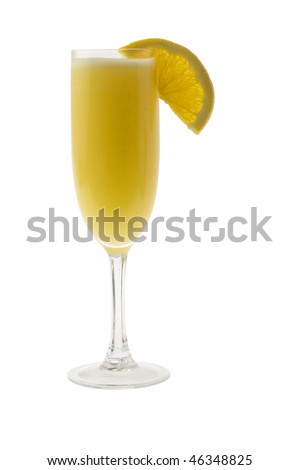 Mimosa mixed drink with orange slice garnish on a white background - stock photo