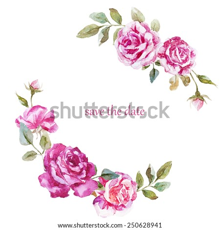 Watercolor hand drawn flower wreath for design artistic isolated - Circle Watercolor Frame Stock Images Royalty Free Images