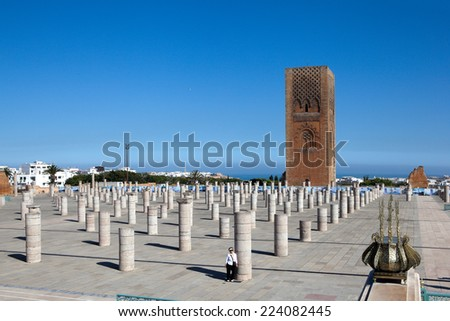 Minaret and the unfinished tower of the mosque Hassan. Rabat. Morocco. - stock photo