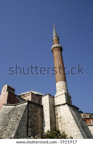 Minaret at side of famous Hagia Sofia in Istanbul - stock photo