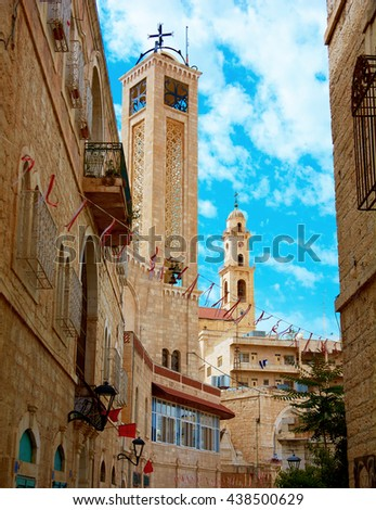 Minaret in Bethlehem - stock photo